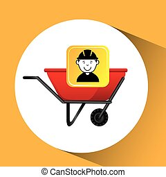 construction worker wheelbarrow graphic