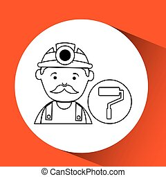 mine worker pickaxe with paint roller vector illustration...