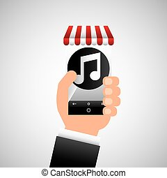 hand holding e-shopping music design vector illustration eps...