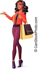 Vector beautiful African woman standing with shopping bags and presenting.