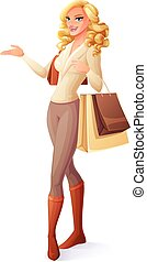 Beautiful lady standing with shopping bags and presenting. Vector illustration.