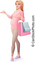 Vector beautiful pregnant woman standing with shopping bags and presenting.
