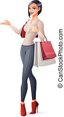 Vector beautiful brunette lady standing with shopping bags and presenting.