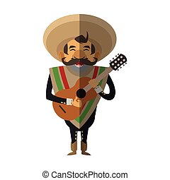Isolated mexican man design - Man icon. Mexican culture...