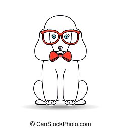big poodle sitting with red glasses