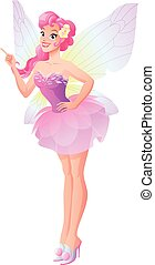 Vector pink fairy with butterfly wings with finger pointing up.