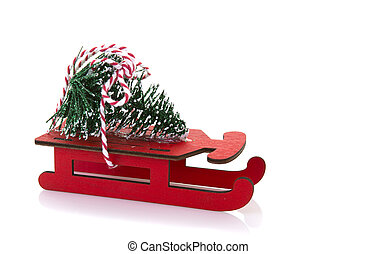 Wooden red sled - Red Wooden sled with Chrisstmas Tree on a...