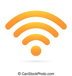 orange wifi icon wireless symbol on isolated background