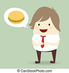 fat businessman is thinking want to eat burger, business...