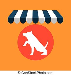 pet shop with dog up hand vector illustration eps 10