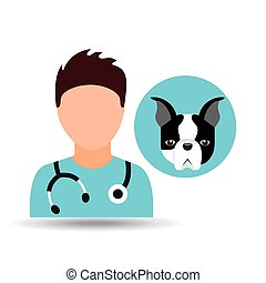 doctor cartoon veterinarian dog french bulldog vector...