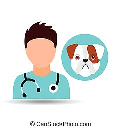 doctor cartoon veterinarian dog bulldog puppy
