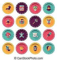 Happy halloween party icons set