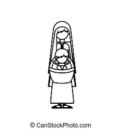 Isolated mary and baby jesus design - Mary and baby jesus...