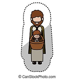 Isolated joseph and baby jesus design - Joseph and baby...