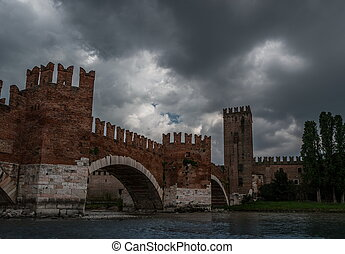 Medieval stone bridge Ponte Scaligero - Beautiful photo of...