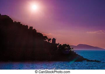 Hydra island on a summer evening in Greece.