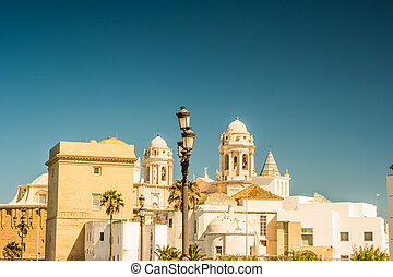 Beautiful view of Cadiz with cathedral and Iglesia Santa...