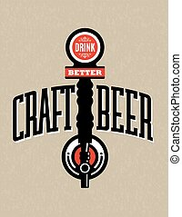 Craft Beer Vector Design - Vector Illustration with Drink...