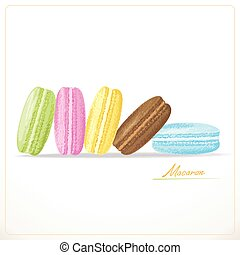 Colorful French Macarons, Sketch hand drawn on white...