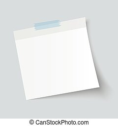 Blank White Sticky Note isolate on gray background, vector...