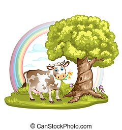 Green glade with cow