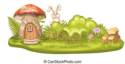 Green glade with house for gnome made from mushroom