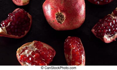 Rotating ripe red garnet closeup. - Rotating ripe red garnet...