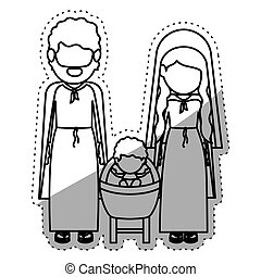 Isolated holy family design - Holy family icon. Nativity...