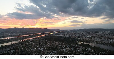Beautiful sunset over Vienna capital of Austria - Beautiful...