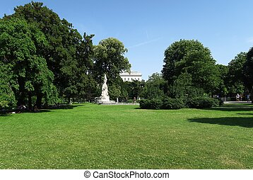 The Park of Hofburg Palace with Mozart Statue in Austria - Vienna