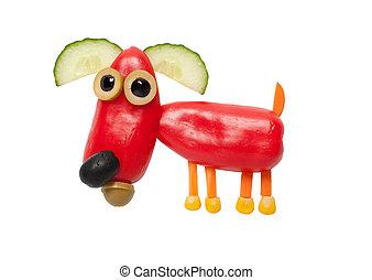 divertido, pimienta, hecho, perro, aislado, Plano de fondo,...