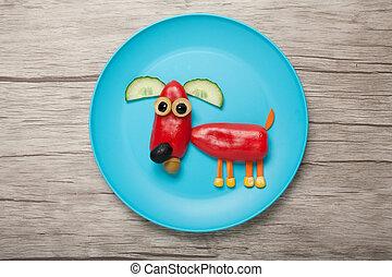 divertido, pimienta, hecho, placa, perro, escritorio, rojo