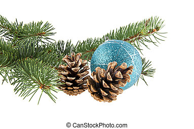 branch of Christmas tree, cones and a ball isolated on a...
