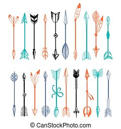 Hand drawn colorful arrows collection
