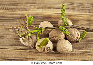 walnuts on wooden background closeup