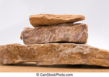 Rocks overlapped on a white background
