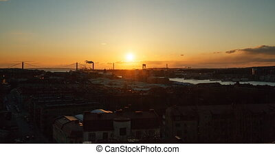 Gothenburg Bay at sunset. Sweden. Time Lapse