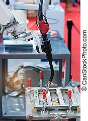 robotic arm for welding in factory
