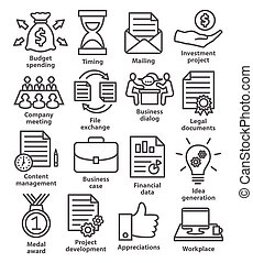 Business project planning icons in line style on white...