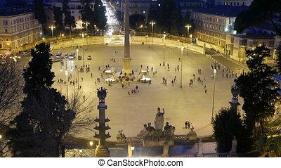Piazza del Popolo. Night falls. Rome, Italy. UltraHD (4K)