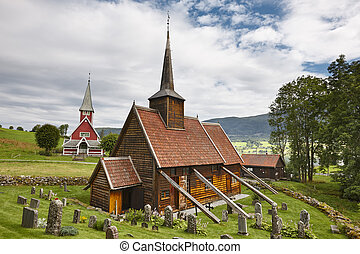 Traditional norwegian stave church. Rodven. Travel Norway....