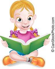 Cartoon Girl Reading Book - A cartoon little girl sitting...