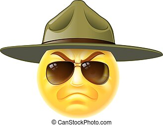 Emoji Emoticon Drill Sergeant - A cartoon emoji emoticon...