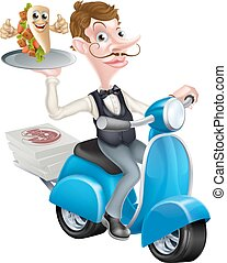 Waiter on Scooter Moped Delivering Wrap Kebab - An...