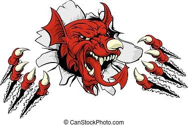 Welsh Dragon Clawing Through - Welsh red dragon Y Ddraig...