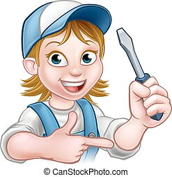 Electrician Woman Holding Screwdriver - An electrician...