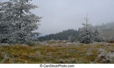 Hiker walking mountains - Mountaineer man walking. Men is...