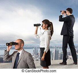 Business people looking to the future - Business people...