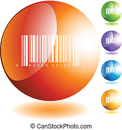 Barcode Icon - Barcode icon web button isolated on a...